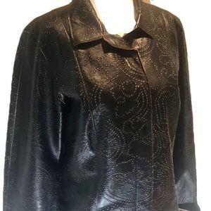 """NETO"" Embossed Black Leather Jacket."
